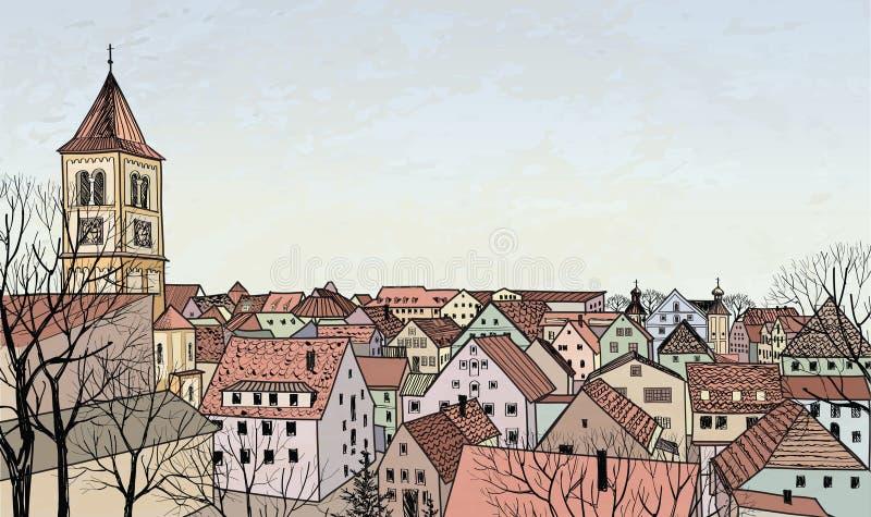 Пешеходная улица в старом городке Перспектива эскиза бесплатная иллюстрация