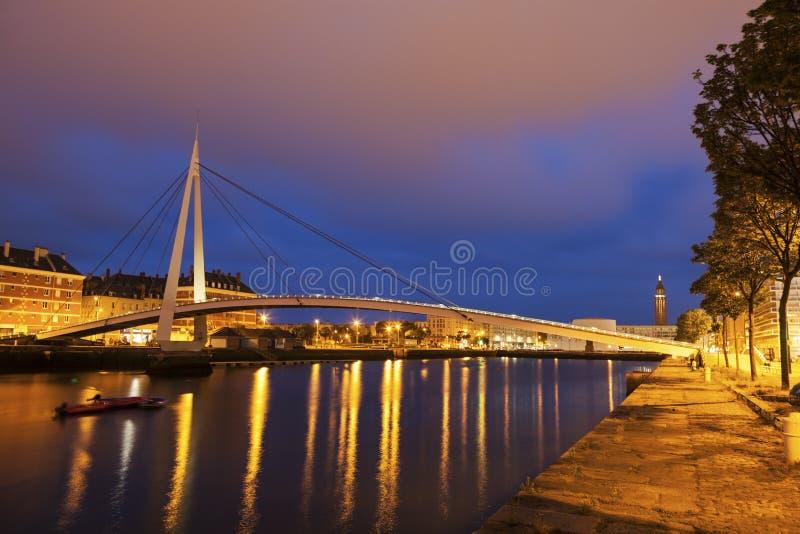 Пешеходный мост в Гавр стоковое фото