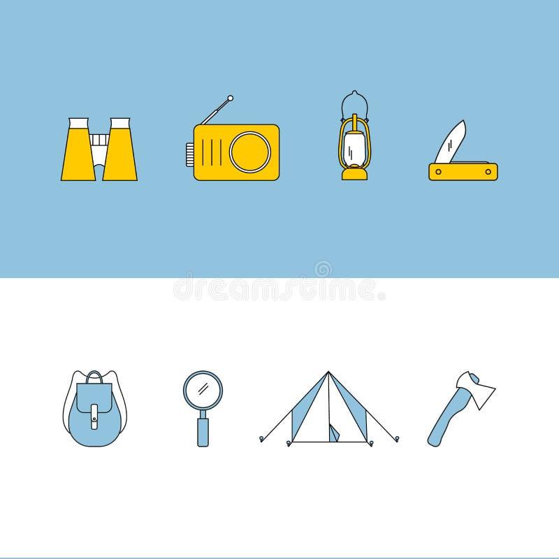 Пешие установленные значки иллюстрация штока