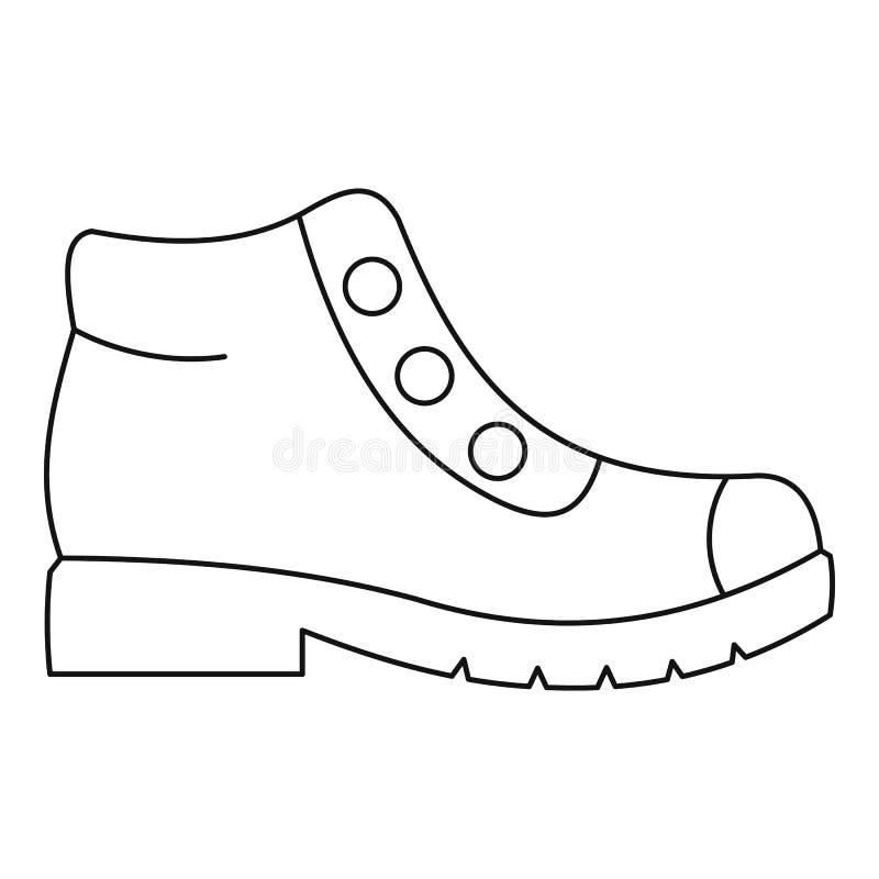 Пеший вектор значка ботинок утончает линию иллюстрация штока