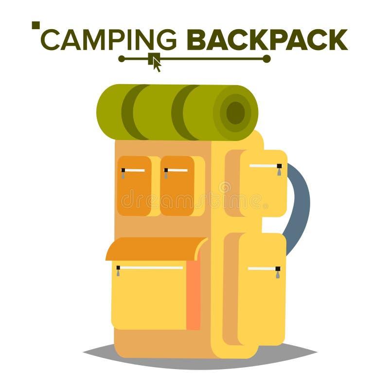 Пеший вектор рюкзака Туристский пеший рюкзак с спальным мешком Располагающся лагерем и исследовать горы Изолированная квартира иллюстрация штока