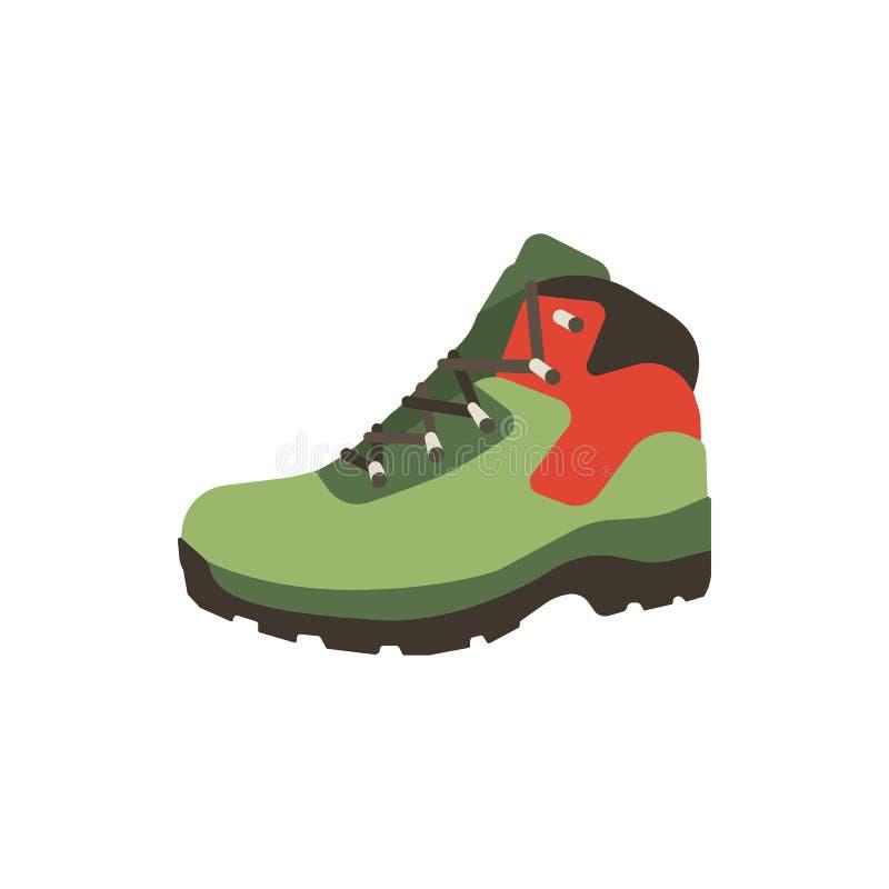 Пеший значок ботинка в плоском стиле изолированный на белой предпосылке Обувает запас символа горы Иллюстрация обуви вектора бесплатная иллюстрация