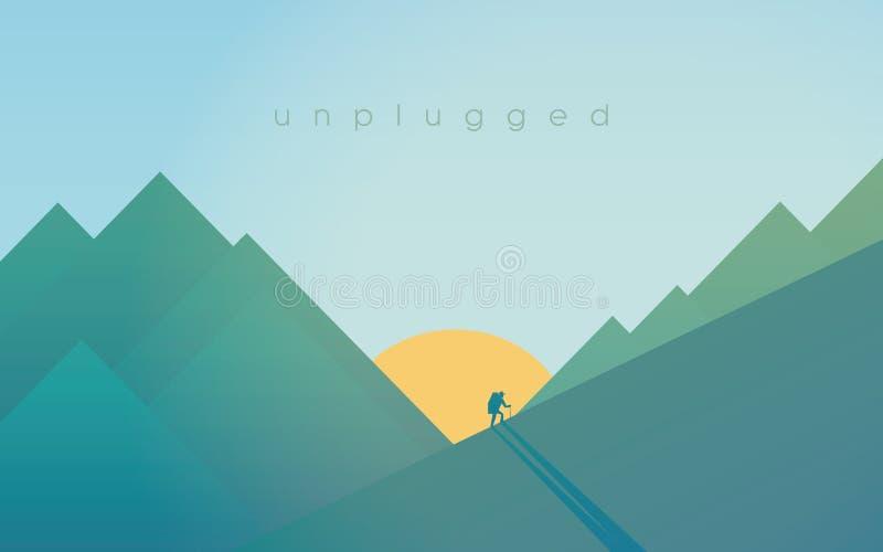 Пеший туризм в горах во время захода солнца Резвитесь внешняя концепция релаксации приключения с силуэтом hiker иллюстрация штока