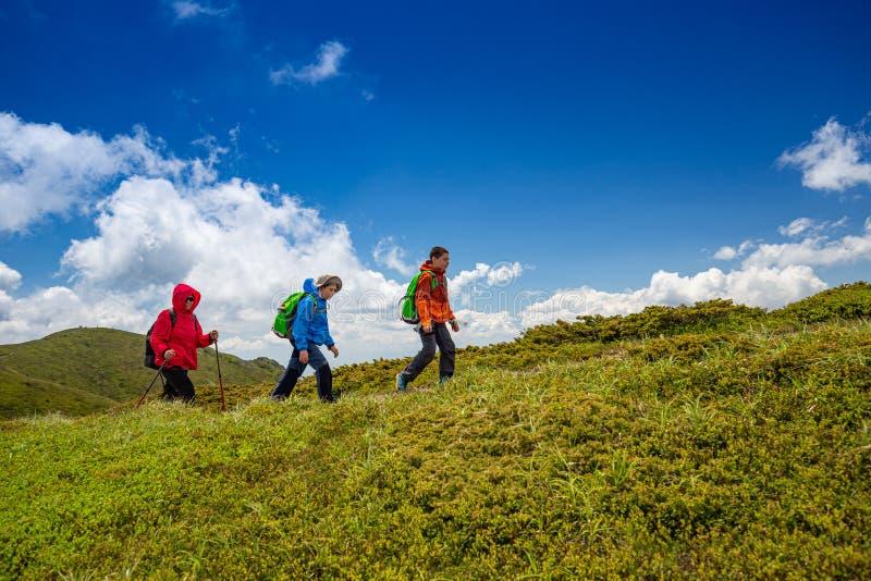 Пеший туризм в горах стоковое изображение rf