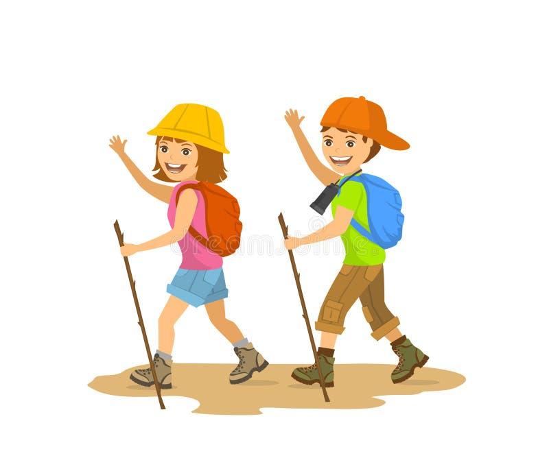 Пеший туризм детей, детей, мальчика и девушки, располагаясь лагерем бесплатная иллюстрация