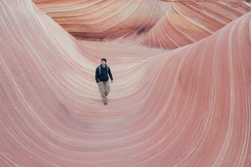Пеший туризм национального монумента скал волны Vermilion стоковые фотографии rf