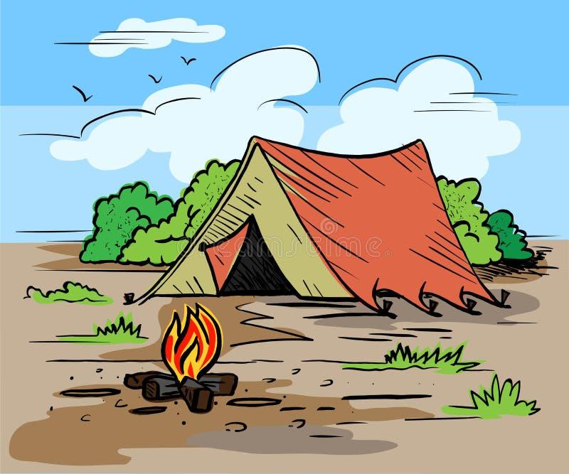 Пеший туризм, располагаясь лагерем внешняя концепция воссоздания с шатром, деревьями, костром иллюстрация штока