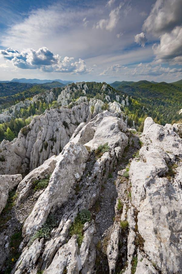 Пеший туризм через изрезанный ландшафт karst stijene Bijele, Хорватия стоковые фотографии rf