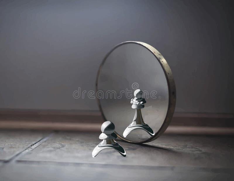 Пешка в зеркале бесплатная иллюстрация