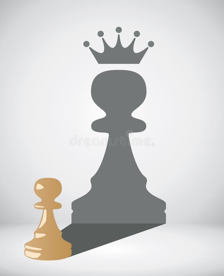 Пешка шахмат с тенью большого короля иллюстрация штока