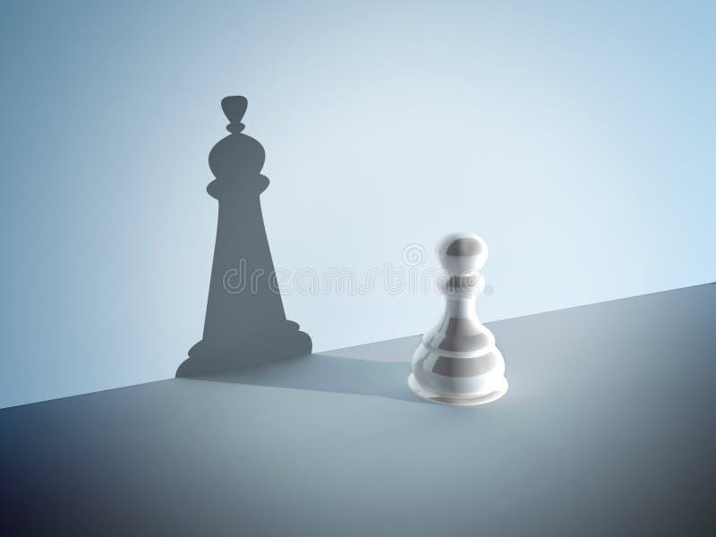 Пешка шахмат с тенью ферзя иллюстрация штока