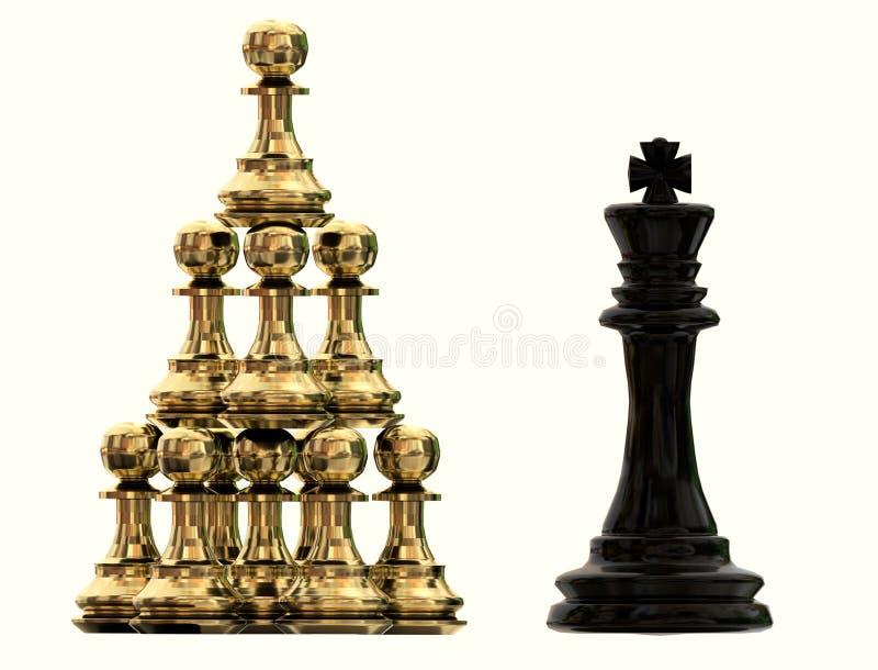 Пешки шахмат colaboration сыгранности конкурентного преимущества золотые и король - перевод 3d стоковая фотография rf