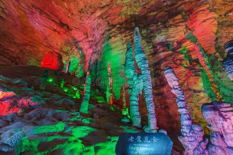 Пещера дракона Huanglong желтая - Китай стоковые изображения rf