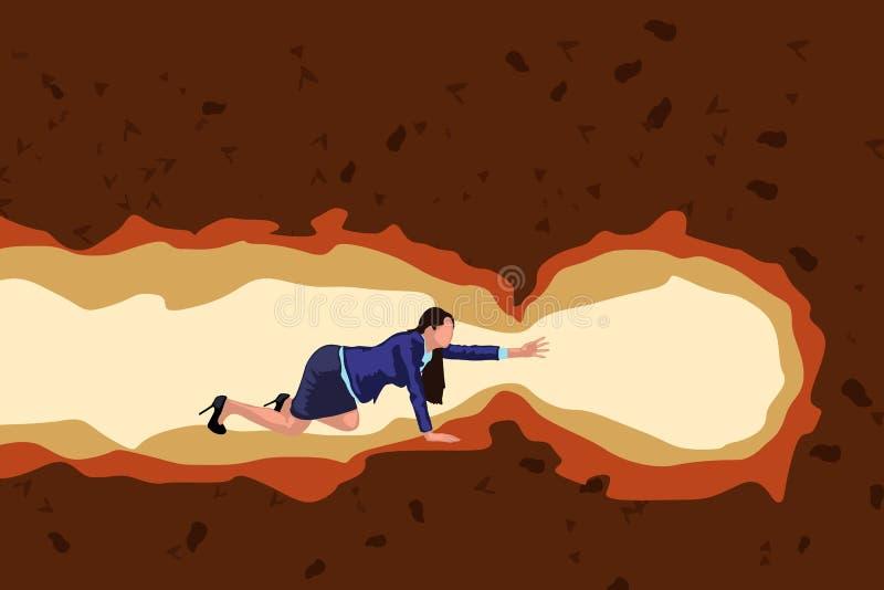 Пещера ползания девушки иллюстрация вектора