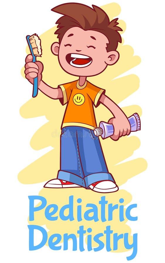 Педиатрическое зубоврачевание Плакат с мальчиком иллюстрация штока