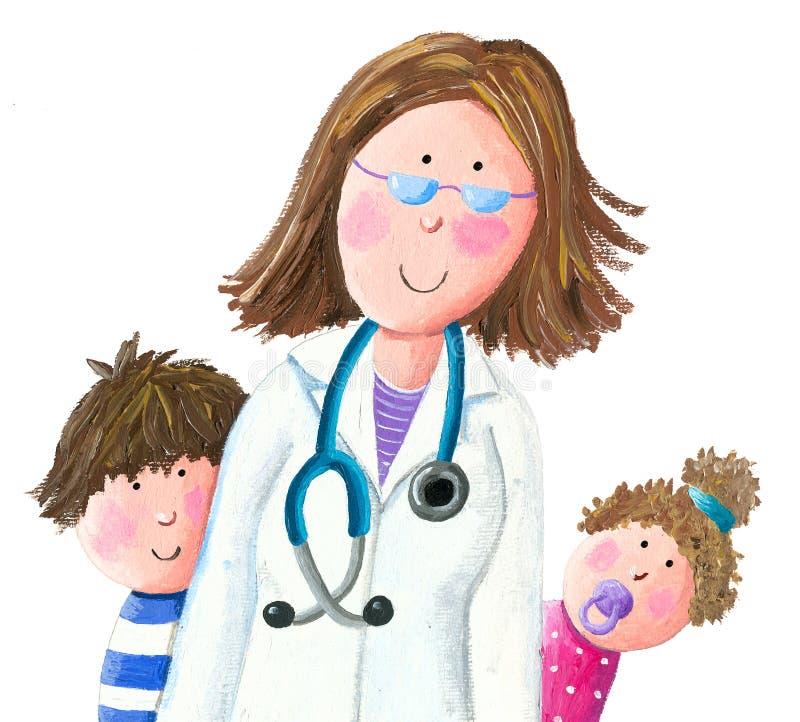 Педиатр и дети доктора иллюстрация штока