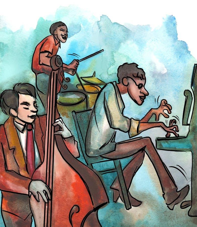 Пианист, басист и барабанщик джаза иллюстрация вектора