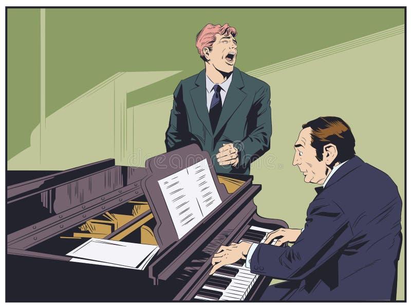 Пианист выполняя музыку Эмоциональный человек поет песню шток померанца иллюстрации предпосылки яркий бесплатная иллюстрация