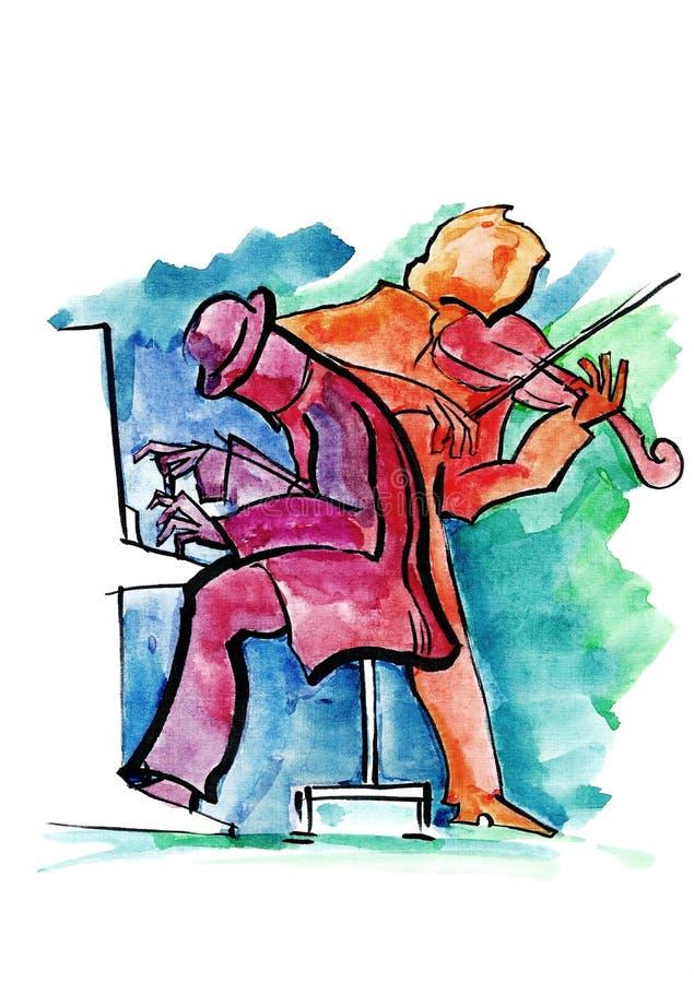 Пианист и скрипач джаза бесплатная иллюстрация