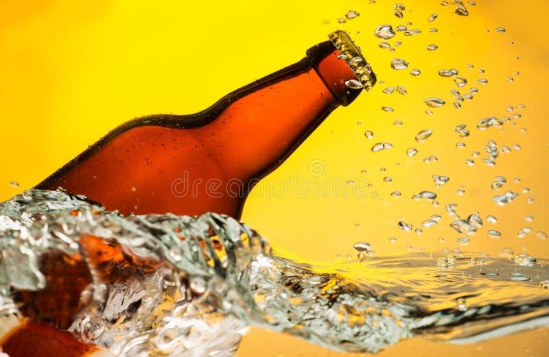 Пивная бутылка в воде стоковые фотографии rf