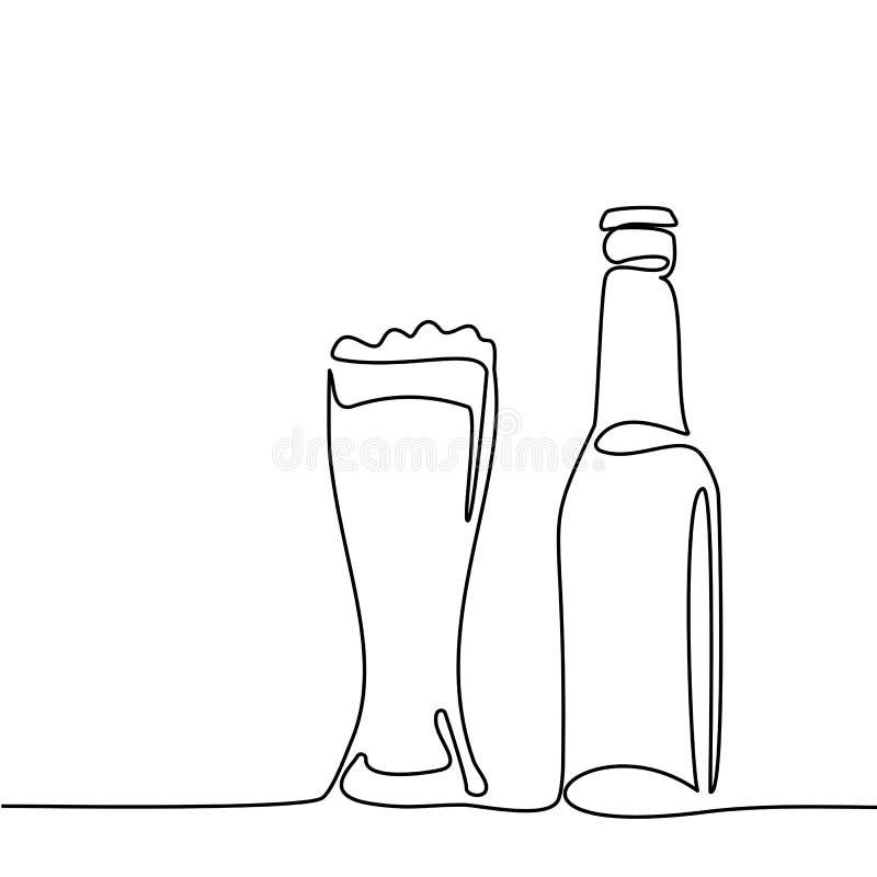 Пивная бутылка и стекло с пивом иллюстрация штока