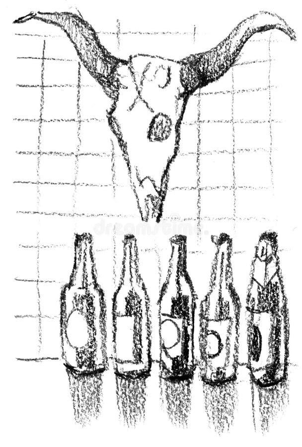 Пивные бутылки и смертная казнь через повешение черепа коровы на стене Эскизы пирата бесплатная иллюстрация