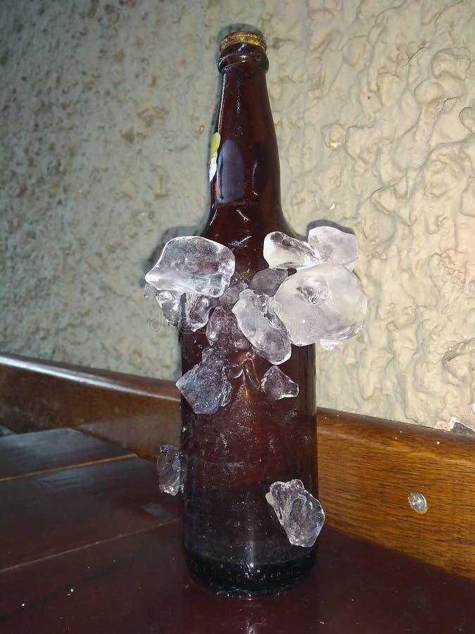 Пивные бутылки охладили во льду стоковое фото