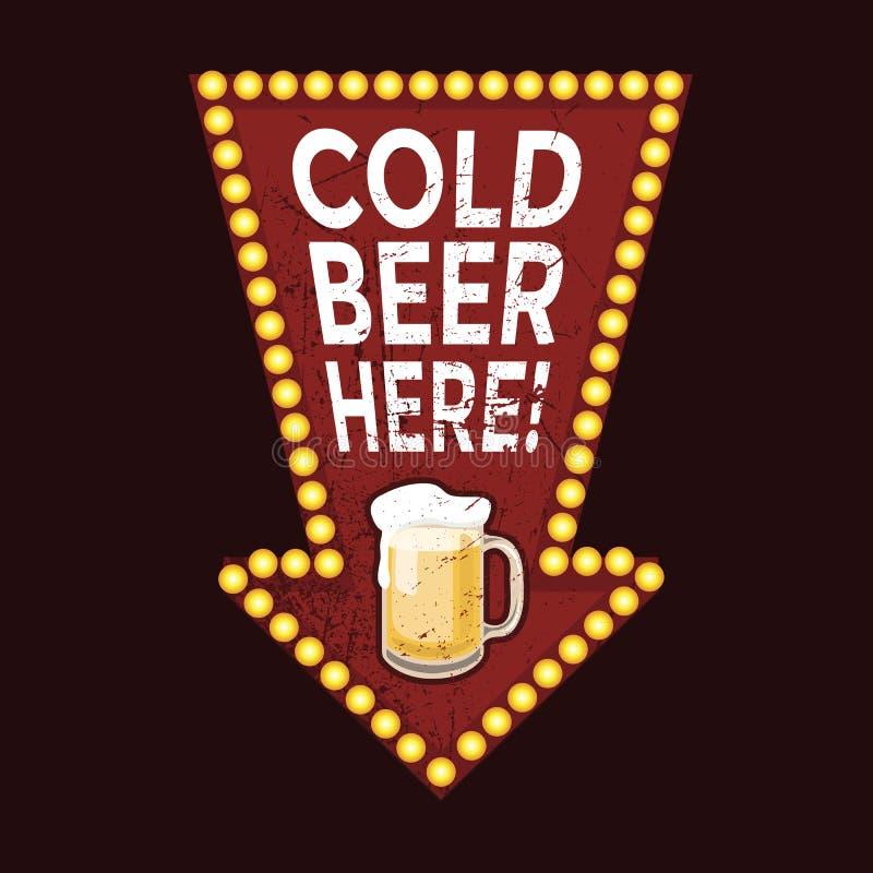 Пиво винтажного знака металла холодное здесь иллюстрация вектора