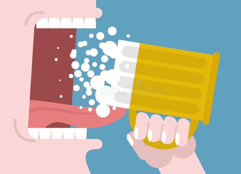 пиво выпивает человека кружка руки Широко раскройте рот с зубами и тонной иллюстрация вектора
