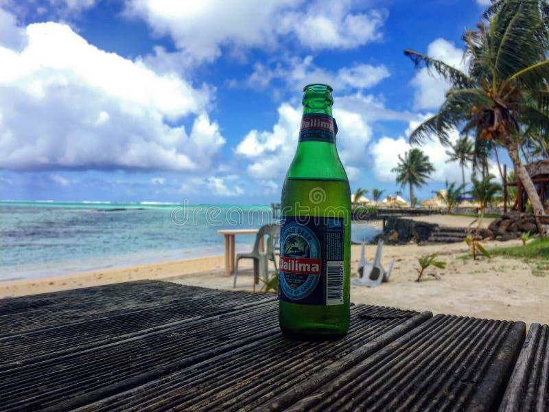 Пиво и пляж стоковое изображение rf