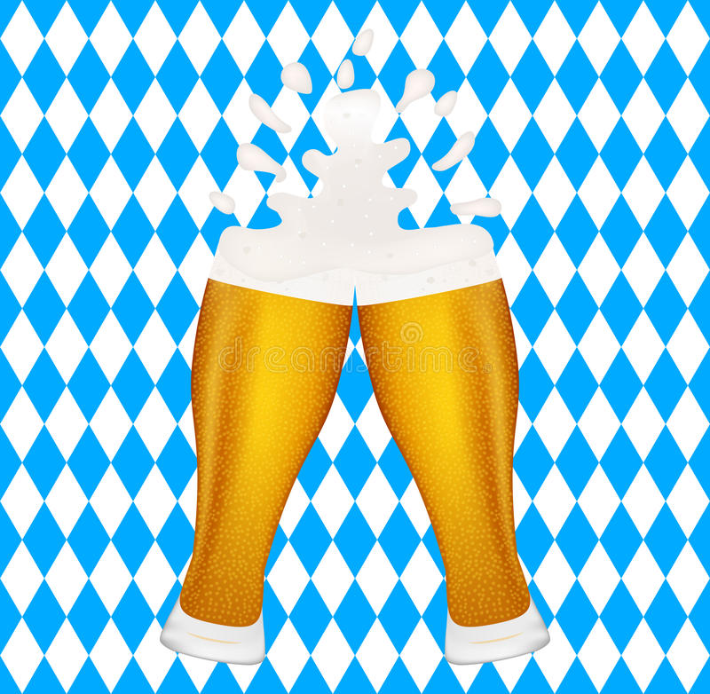 Пиво на флаге предпосылки баварском, символ Oktoberfest иллюстрация вектора
