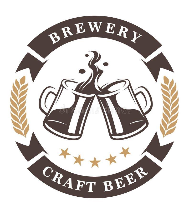Пиво придает форму чашки эмблема иллюстрация вектора