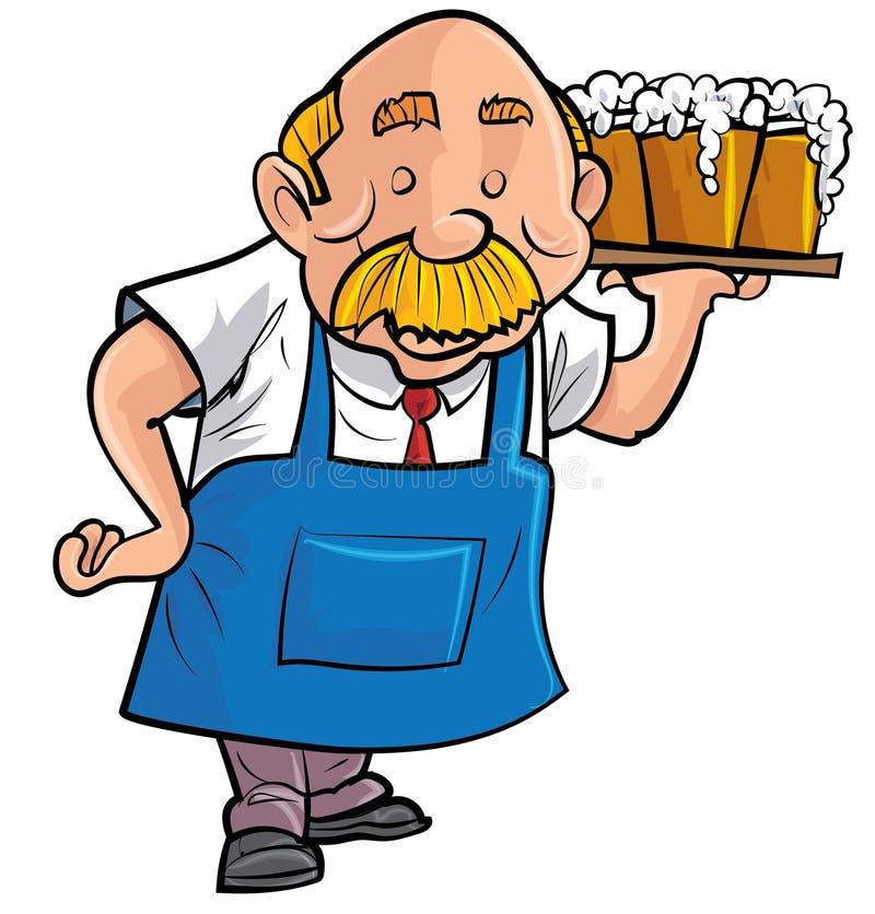 Пиво сервировки бармена шаржа стоковое фото