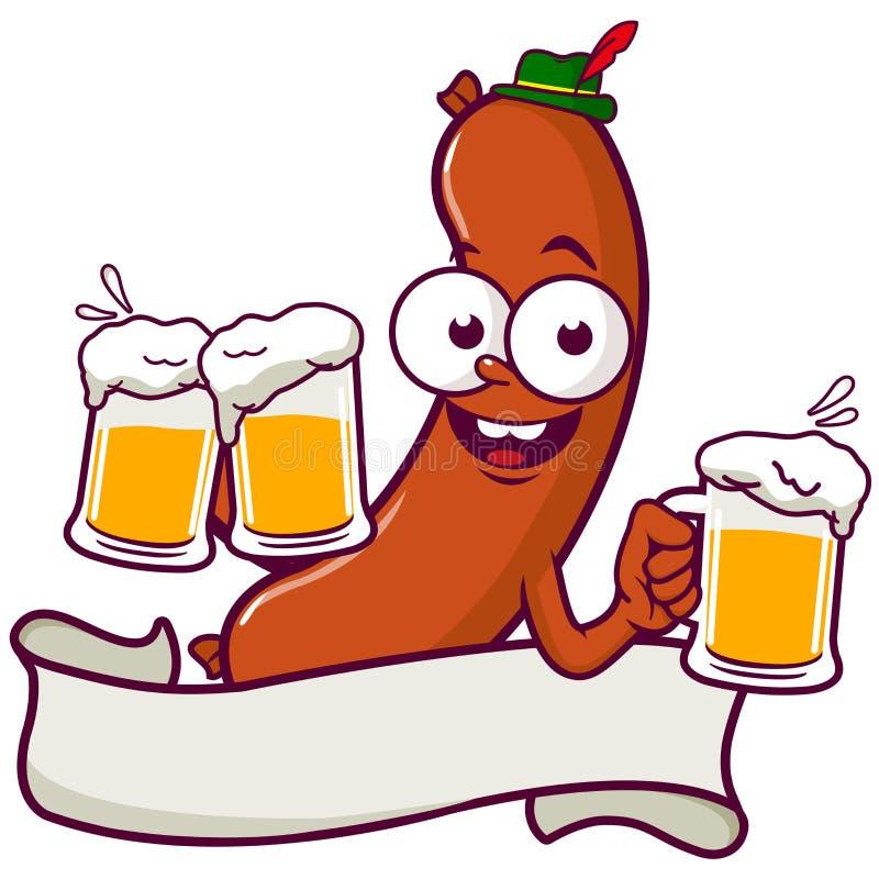 Пиво сервировки сосиски шаржа иллюстрация вектора