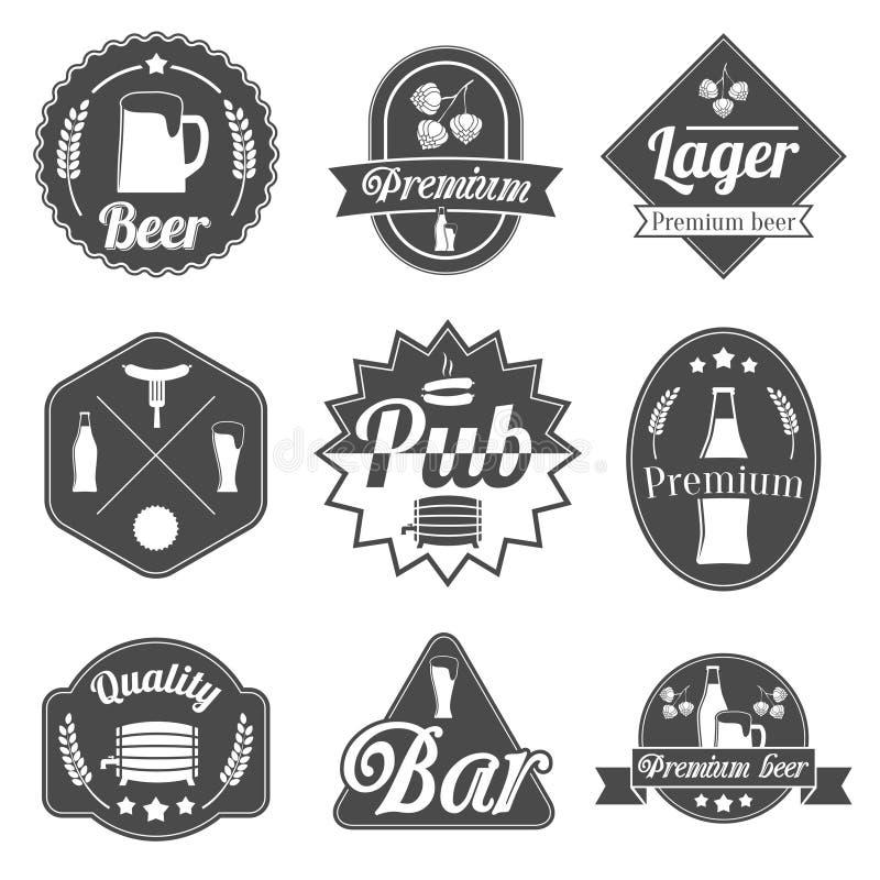 Пиво спирта обозначает собрание значков иллюстрация вектора