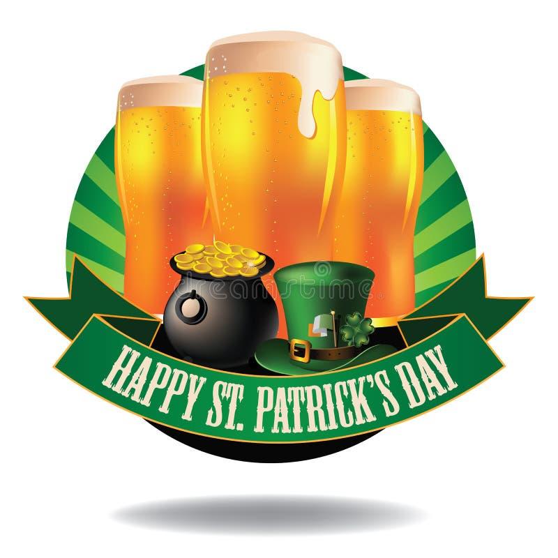 Пиво счастливого дня Patrick's Святого светлое разрывало значок иллюстрация штока