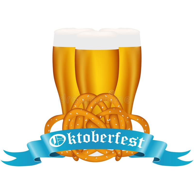 Пиво с кренделем на фестивале Oktoberfest иллюстрация штока