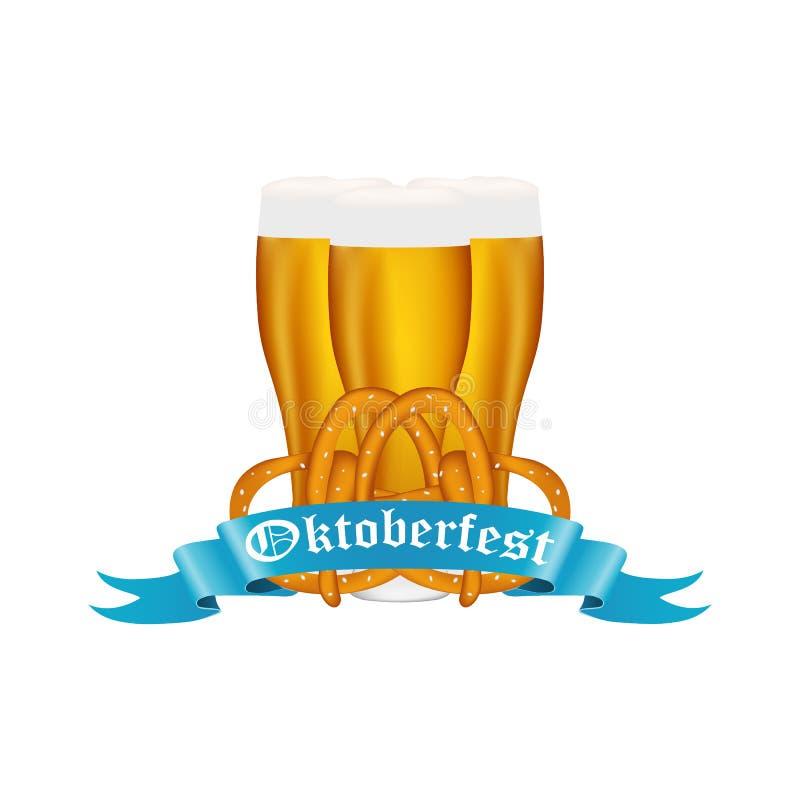 Пиво с кренделем на фестивале Oktoberfest бесплатная иллюстрация