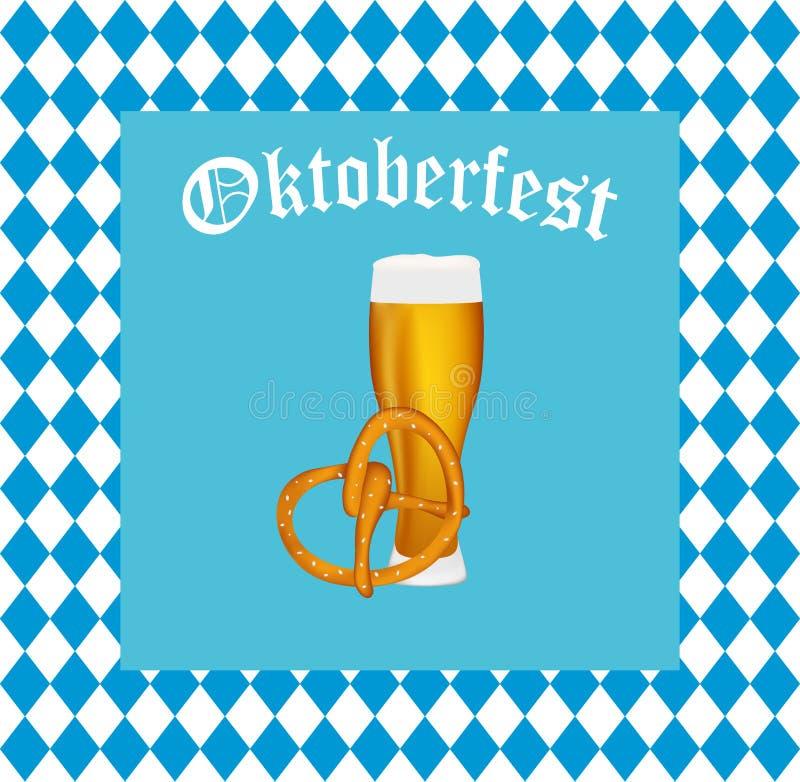 Пиво с кренделем на фестивале Oktoberfest иллюстрация вектора