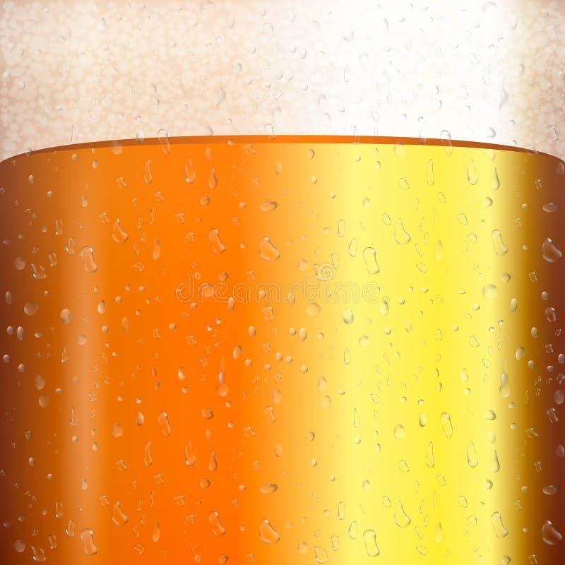 Пиво с прозрачным пузырем на кружке Желтая иллюстрация вектора жидкости 3d реалистическая Текстура холодного пива с конденсатом бесплатная иллюстрация