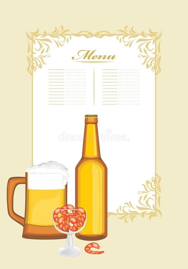 Пиво с шримсами Шаблон меню иллюстрация вектора