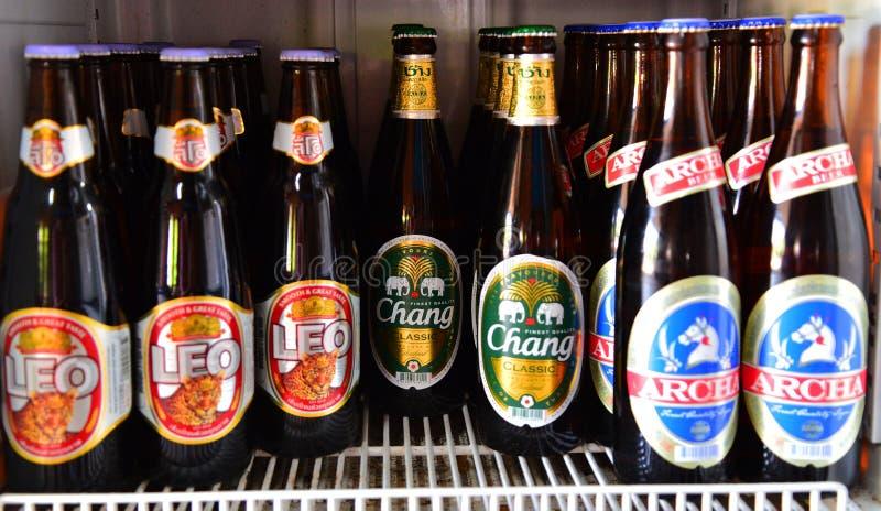 Пиво Таиланд Chang, Archa и Лео стоковые фотографии rf