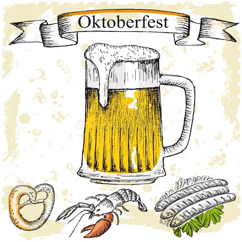 Пиво oktoberfest иллюстрация вектора