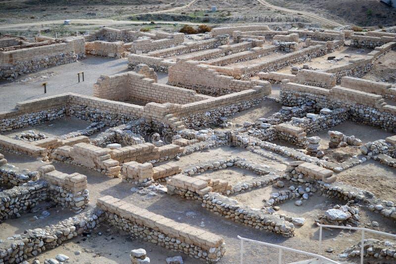 Пиво Sheba телефона, пиво Sheva, археологические раскопки Beersheva, руины древнего города, Израиля, пустыни Негев стоковые изображения