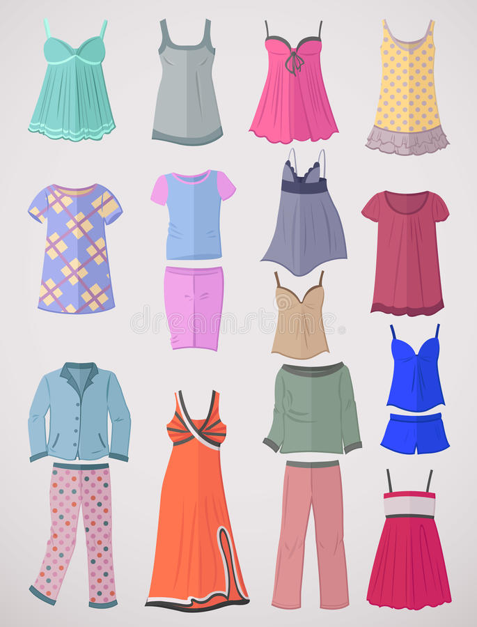 Пижамы и nighties в плоском дизайне иллюстрация штока