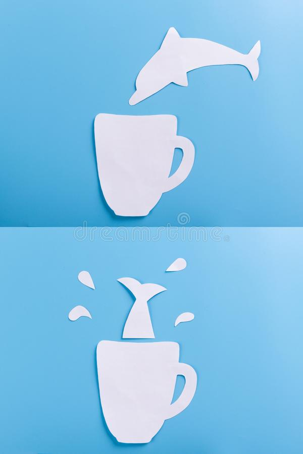 пикирование дельфина в чашку стоковая фотография rf
