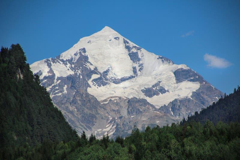 Пики снега, Mt Tetnuldi, верхнее Svaneti, Грузия стоковые изображения