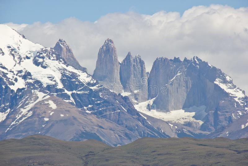 Пики Torres del Paine в национальном парке Чили стоковое фото rf