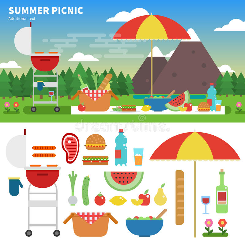 Пикник лета в горах бесплатная иллюстрация