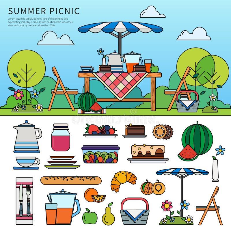 Пикник лета в солнечном дне иллюстрация штока